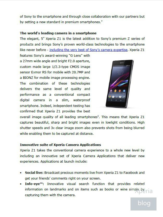 Sony-Xperia-Z1-press-release-leaked-2